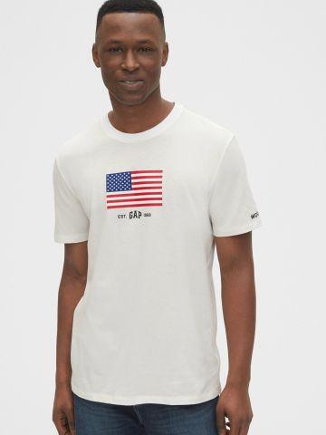 טי שירט עם דגל אמריקה