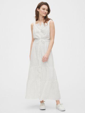 שמלת מקסי עם רקמת פרחים
