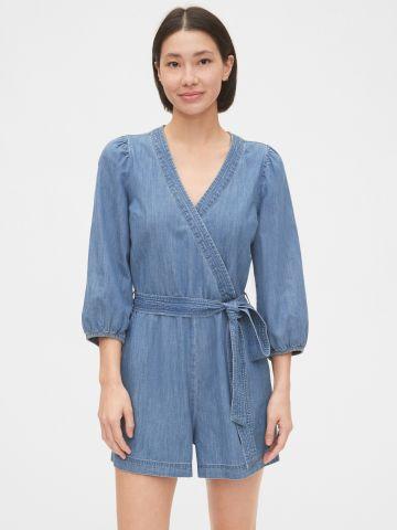 אוברול ג'ינס קצר בסגנון מעטפת / נשים