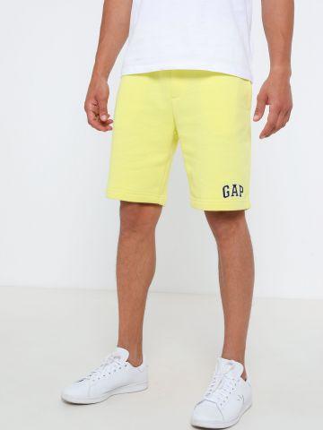 מכנסי פוטר קצרים עם רקמת לוגו