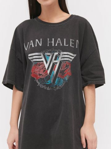 טי שירט אוברסייז עם הדפס Van Halen UO