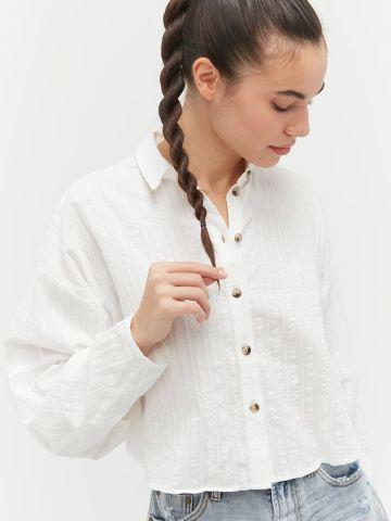 חולצה מכופתרת בדוגמת פסים UO