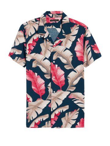 חולצה מכופתרת בהדפס עלים Slim / גברים