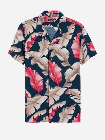 חולצה מכופתרת בהדפס עלים Slim / גברים של BANANA REPUBLIC