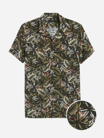 חולצה מכופתרת בהדפס טרופי / גברים