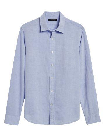 חולצת פשתן מכופתרת Standard Fit / גברים