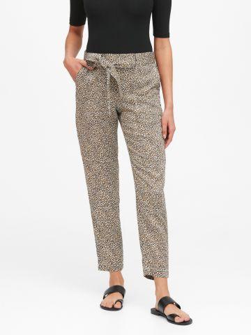 מכנסיים ארוכים בהדפס חברבורות עם חגורת קשירה
