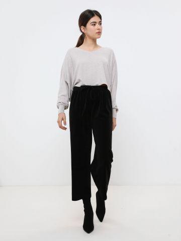 מכנסי קרופ קטיפה בדוגמת פסים
