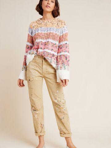 """מכנסיים ארוכים בסגנון דגמ""""ח בהדפס התזות צבע"""