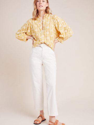 מכנסי קנבס עם חגורה מובנית