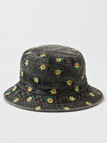 כובע ג'ינס באקט עם פרחים / נשים