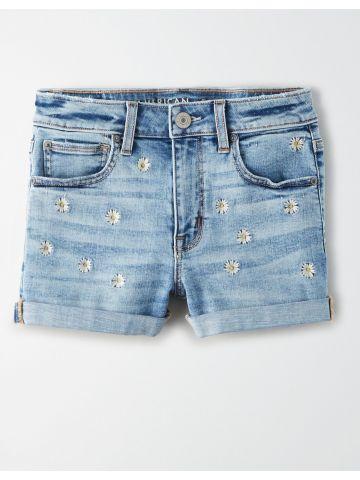 ג'ינס קצר עם רקמת פרחים / נשים