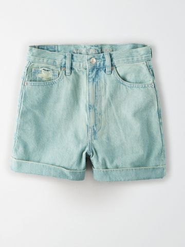 ג'ינס קצר בגזרה גבוהה Mom / נשים