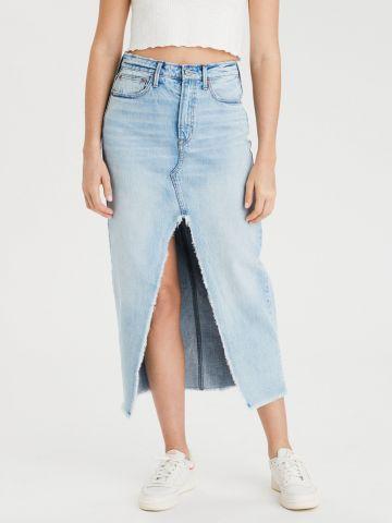 חצאית ג'ינס מקסי עם שסע