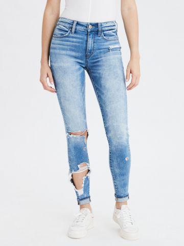 ג'ינס סקיני עם קרעים Hi Rise Jegging