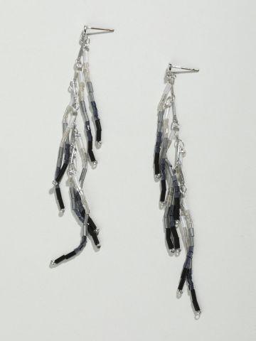 עגילים נתלים עם חרוזים אומברה