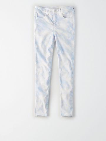 ג'ינס קרופ בהדפס טאי דאי Super Hi Rise / נשים