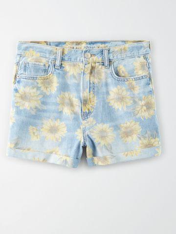 מכנסי ג'ינס קצרים בהדפס פרחים / נשים