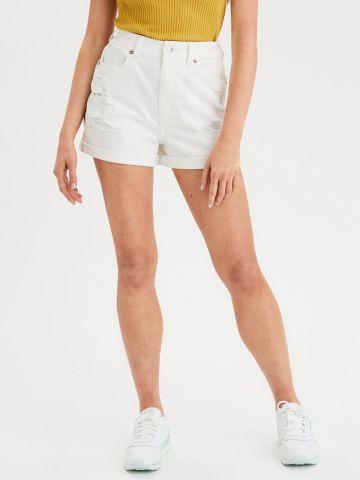 ג'ינס Curvy Mom קצר עם קרעים