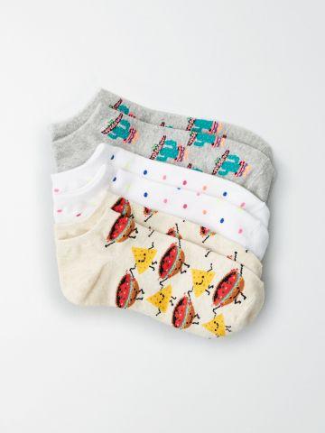 מארז 3 זוגות גרביים נמוכים בהדפסים שונים / נשים