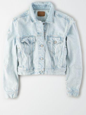 ג'קט ג'ינס בשטיפה בהירה / נשים