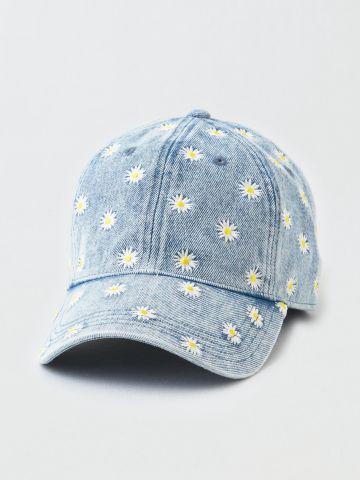 כובע ג'ינס מצחייה עם פרחים / נשים