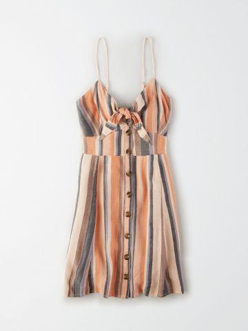 שמלת מיני מכופתרת בהדפס פסים / נשים של AMERICAN EAGLE