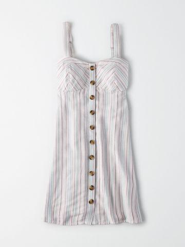 שמלת מיני בהדפס פסים עם כפתורים / נשים