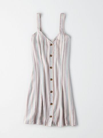 שמלת מיני פסים עם כפתורים / נשים