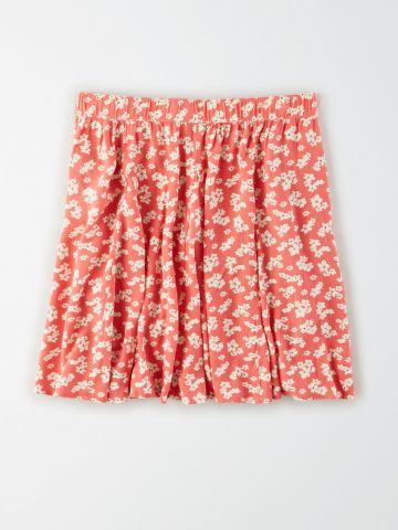 חצאית מיני בהדפס פרחים / נשים