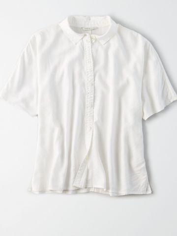 חולצה מכופתרת חלקה / נשים
