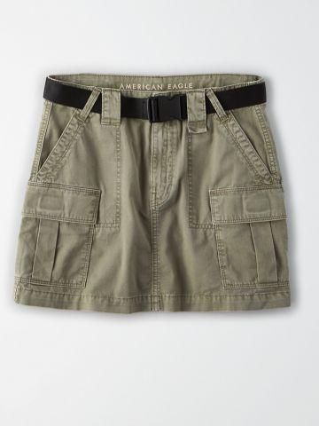 """חצאית מיני דגמ""""ח עם חגורה / נשים"""