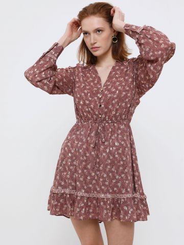 שמלת מיני בהדפס פרחים עם עיטורים מוזהבים