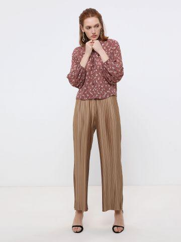 מכנסי פליסה ארוכים בגזרה רחבה