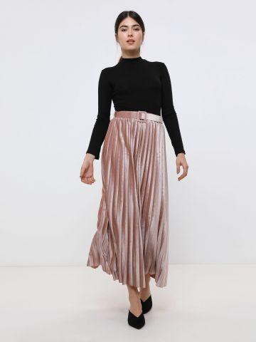 חצאית מקסי פליסה מקטיפה