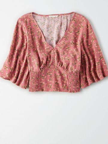 חולצת קרופ בהדפס פסים עדינים עם שרוולים רחבים / נשים