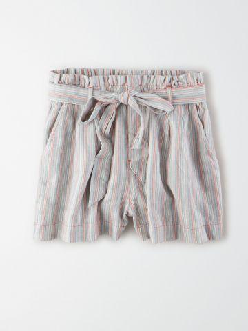 מכנסי פייפרבאג קצרים בהדפס פסים / נשים של AMERICAN EAGLE