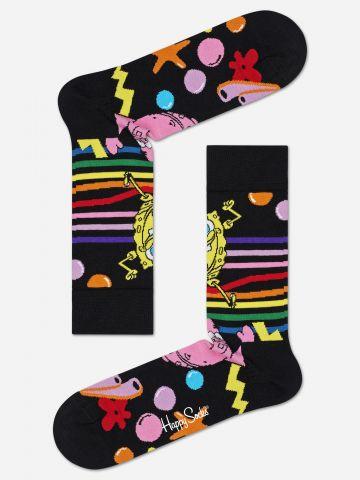 גרביים גבוהים עם הדפס בובספוג / גברים