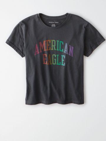 טי שירט עם הדפס לוגו / נשים של AMERICAN EAGLE