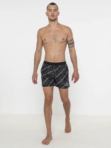 מכנסי בגד ים בהדפס לוגו