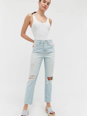 ג'ינס בגזרה ישרה עם קרעים BDG