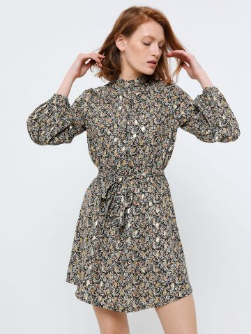 שמלת מיני בהדפס פרחים מוזהבים