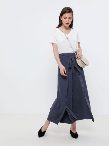 מכנסי מעטפת רחבים עם קשירה