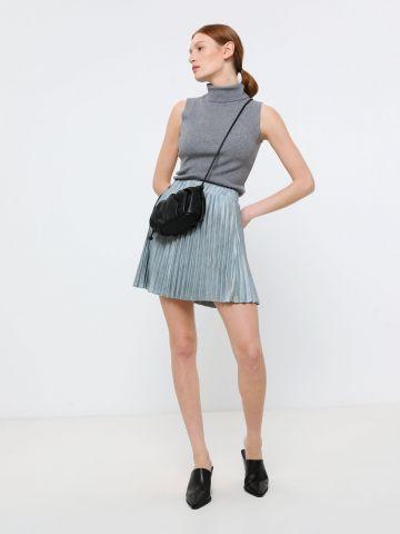 חצאית מיני פליסה מבריקה