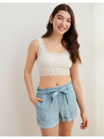 מכנסי ג'ינס קצרים עם קשירה של AERIE