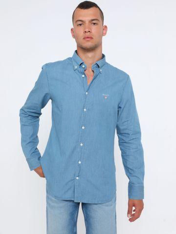 חולצת ג'ינס מכופתרת סלים עם לוגו
