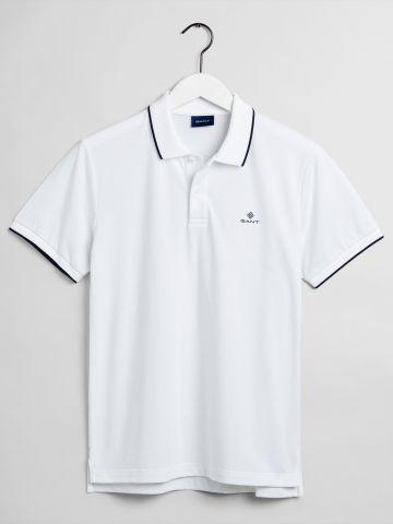 חולצת פולו לוגו עם שוליים מודגשים / גברים