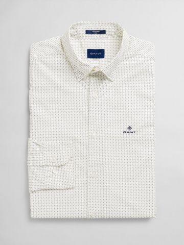 חולצה מכופתרת בהדפס נקודות Slim / גברים