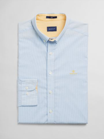 חולצה מכופתרת בהדפס משבצות Slim / גברים