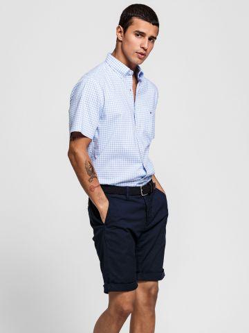 חולצה מכופתרת שרוולים קצרים בהדפס משבצות Regular Fit